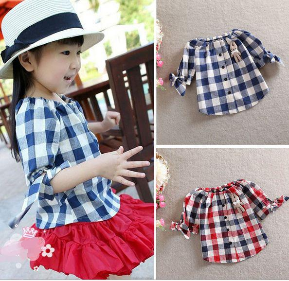91a77d29 2019 2T 6T Summer Tops Girl Red Blue Plaid Checked Shirt Blouse Short  Sleeve T Shirt With Bear Bows Kids Children Girl's Short Sleeve T Shirts  From Children ...