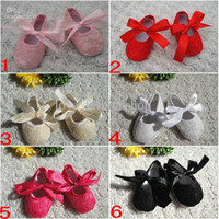 Wholesale Girls Soft Ballet Shoes - Baby Toddler lace shoes Baby Kid Slip shoes Candy Color Shoes girls' Princess shoes PU shoes Baby Soft Sole Shoes Ballet Style Shoes