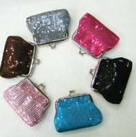Wholesale Money Color - New 12pcs lot fashion silvery mini women girl paillette Coin purse money wallet burse coin purse. mix color
