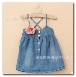 Wholesale Thin Knee Length Dress - Fashion New Girls jean suspender dress summer children flowers Thin denim dress kids ALL-Match sundress kids clothing 2-7T 5pcs  lot 3130