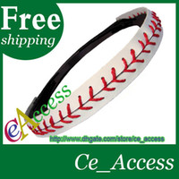 Wholesale Cheapest Leather Baseballs Wholesale - 2018 cheapest usa baseball sports red stitching seam white genuine leather baseball headbands
