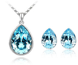 Colliers De Mariage Délicats Pas Cher-5sets Delicate Crystal Teardrop Wedding Bridal Bridesmaid Earring Pendentif Pendentif Jewelry Set Boucles d'oreille Waterdrop + Sautoir Blue Red B137A82
