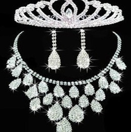 Wholesale Middle East Beauty - Free shipping Beauty Noble Rhinestone Crystal Wedding Jewelry Set Bridal Accessories Earrings Choker Necklace & Headdress Set For Wedding