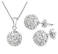 Wholesale 925 Shamballa Necklace Earring - 30sets Genuine CZ Crystal Ladys 925 SILVER Sets Silver Necklace + Earring Shamballa Sets pink SHAMBALLA 10mm EARRING AND PENDANT SET