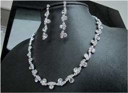 Wholesale Wholesale Evening Jewelry Sets - Free shipping Beauty Noble Rhinestone Crystal Wedding Jewelry Set Bride Bridal Accessories Earrings Choker Necklace Set For Evening Party