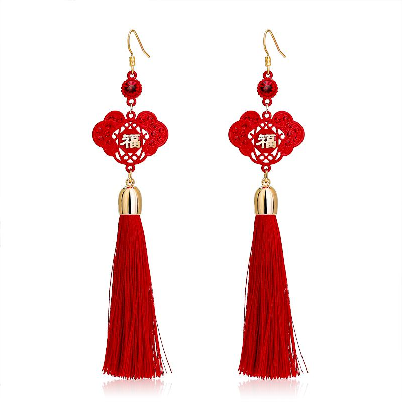2018 carlo us lucky character chinese new year red bride wedding knot earrings 2014 female long tassel earrings earrings from zhuzhixuanyi 1508 dhgate - How Long Is The Chinese New Year