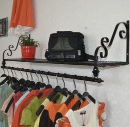 Wholesale Wrought Iron Metal Shelf - Ou, wrought iron wall, clothing display shelf Wall hanging clothes shelf clothing store clothes rack