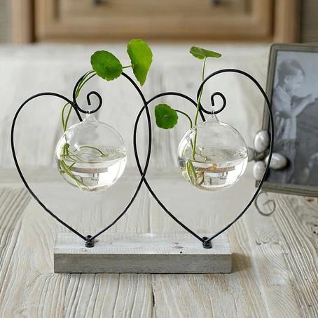 Grosshandel Holz Pad Blumen Vasen Home Dekoration Glas Vasen Topfe