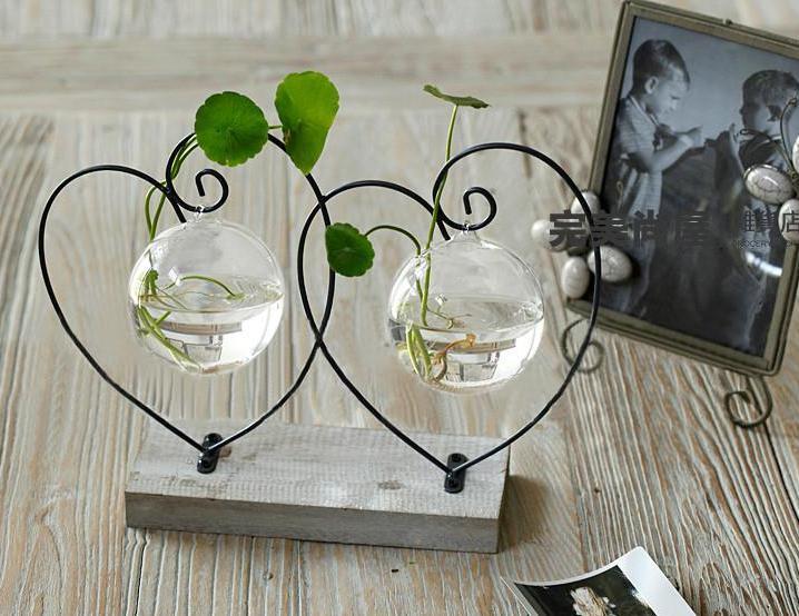 Almofada de madeira vasos de flores de decoração para casa vasos de vidro potes prateleira de ferro suprimentos de festa de casamento vasos decorativos new yeartable top decoração