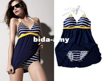 Wholesale Skirt Swimsuits Sexy - New Sexy Women One Piece Swimsuit Padded Swimwear Padded Halter Skirt Blue