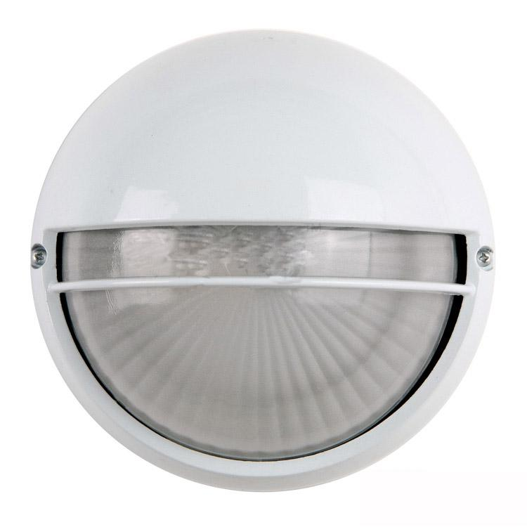 Ip44 Round Outdoor Gate Wall Lamp Waterproof Moisture Proof Contracted Garden Porch White Aluminum Base Glass Lampshade Light