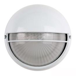 Portões de jardim ao ar livre on-line-IP44 Rodada Lâmpada de Parede Ao Ar Livre Da Porta À Prova D 'Água lâmpada à prova de umidade contratada jardim Porch Branco Base De Alumínio De Vidro Abajur luz Da Parede
