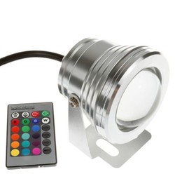 12v Underwater Lights Canada - 2014 10W 12v underwater RGB Led Light 1000LM Waterproof IP68 fountain pool Lamp 16 color change with 24key IR Remote controller 10pcs