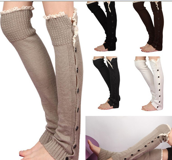 top popular Long solid button down Lace Knitted Leg Warmers Boot Stocking Socks Boot Covers Leggings Tight 24 pairs lot mixed colors #3477 2021