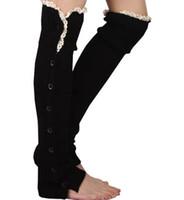 leggings de encaje al por mayor-Botón de encaje abajo Calentadores de piernas Danza de ballet Calienta Botín de punto Polainas Botas de arranque Medias Calcetines Cubiertas de botas Polainas # 3653