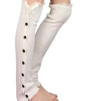 Long solid button down Lace Knitted Leg Warmers Boot Stockin...