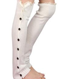 Lange schnürsenkel online-Lange feste Knopf-unten Spitze gestrickte Beinwärmer-Aufladungs-Strumpf-Socken-Aufladungs-Abdeckungs-Gamaschen fest # 3478