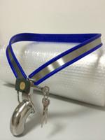 y modelo de cinturón de castidad al por mayor-AZUL Cinturón de castidad de acero inoxidable tipo Y ajustable tipo Y ajustable de 3 colores azul ch