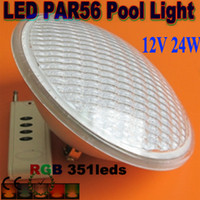 geführtes rgb piscina großhandel-Freies Verschiffen Par56 RGB LED-Licht-Swimmingpoollicht 24W 351 LED Brunnen-Lampe Unterwasser-IP68 luz de la piscina AC12V + Remote Controller