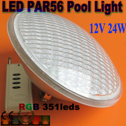 Wholesale Led Par56 Remote - Free Shipping Par56 RGB LED Light Swimming Pool light 24W 351 LED Fountain Lamp Underwater IP68 luz de la piscina AC12V+Remote controller