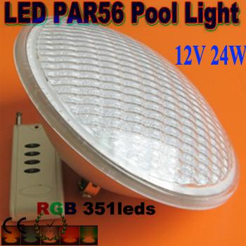 Freies Verschiffen Par56 RGB LED-Licht-Swimmingpoollicht 24W 351 LED Brunnen-Lampe Unterwasser-IP68 luz de la piscina AC12V + Remote Controller