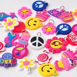 Wholesale Wholesale Kids Charm Bracelets - Lovely Random Mix Designs Dolls Flowers PVC Charms For Rainbow Loom Bracelet