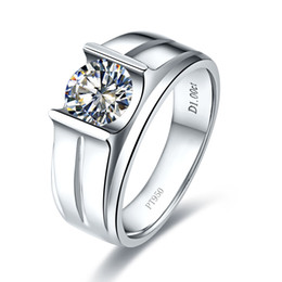 Wholesale Great Stamps - 1ct Luxury SONA synthetic Diamond ring for man engagement Fine sterling silver 18k white gold plated Man Jewelry Pt950 stamped
