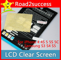 Wholesale S5 S4 S3 - Clear Screen Protector For iPhone 4 4S 5 5S 5C for Samsung S3 S4 S5 Lcd screen Protector Film Guard Case DHL Fedex Free shipping 100pcs lot