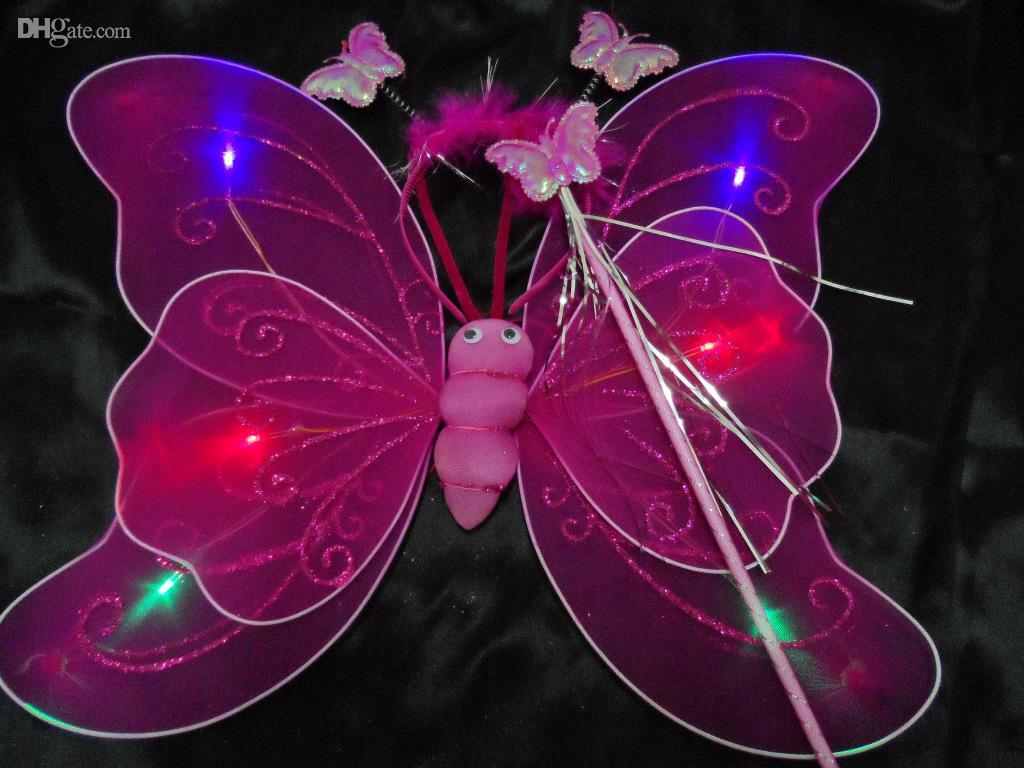 Children Performances Accessories Flash Butterfly Wings For Party Christmas Decoration Fairy Wings +Magic Wand +Head HoopSet of