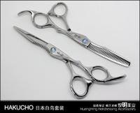 "Wholesale Barber Scissors Kit - Hair Scissors 6"" 2pc lot Barber Scissors Shear Cutting Thinning Scissor 30% Thinning Straight Snips + Pinking Shears"
