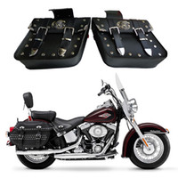 Leather black saddlebags - HZYEYO NEW x universal Motorcycle Saddlebags Left Right Pouch for Harley Chopper bag D808 black colors