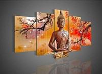 Wholesale Buddha Wall Panel - Wholesale Price 5 Panel Wall Art Religion Buddha 100% Oil Painting On Canvas Picture No Have Framed