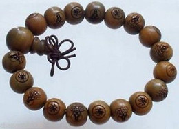 Wholesale Tibet Wood Carvings - Wholesale Price Natural Carved Wood Beads Buddhist Prayer Mala Bracelet 10mm
