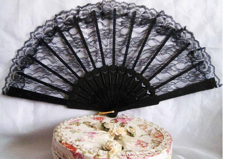 Classic Vintage High Quality Lady's Girl's Vintage Retro Flower Lace Handheld Folding Hand Fan Dance Fan svart för scenens prestanda