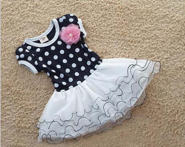 Vente en gros - Bleu foncé et rose à manches courtes rayures à rayures fleur enfants filles robes de mode fille robe 2013 été livraison gratuite