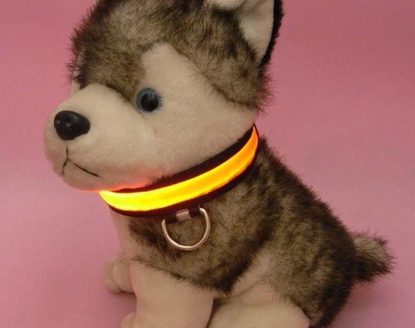 Hot sales 10PCS/LOT Nylon LED Dog Pet Flashing Light Up Safety Collar 7 color 4 size S M L XL
