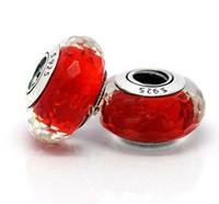 ingrosso nuclei in argento sterling-5pcs 925 Sterling Silver Vite Core Affascinante rosso Murano Glass Bead Adatto europeo Pandora gioielli fascino braccialetto collane pendenti