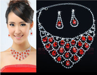 Wholesale Wholesale Gemstones Jewelry China - 2pcs Delicate Crystal Gemstone Wedding Bridal Bridesmaid Red Earring Necklace Jewelry Set Dresses Accessary