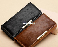 Wholesale Leopard Print Genuine Leather Purse - Free shipping 2014 new women genuine leather real horse hair purse ladies elegant long wallet high quality leopard print EB2031