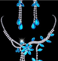 Wholesale Wholesale Blue Jewelry - 2015 New Fashion Rhinestone Chokers Necklaces Earrings Sets Teardrop luxury Crystal Bridal Jewelry Set Wedding Accessories Blue 5 colors