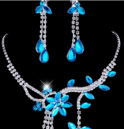 2015 New Fashion Rhinestone Chokers Necklaces Earrings Sets Teardrop luxury Crystal Bridal Jewelry Set Wedding Accessories Blue 5 colors