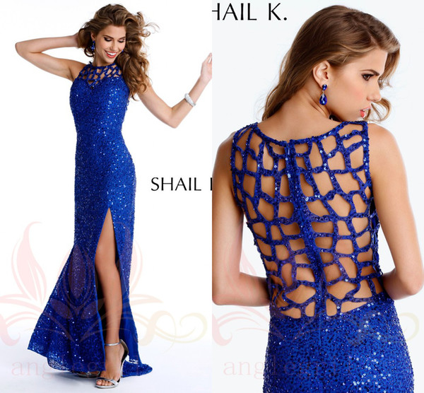859228ed5a1 Weddings   Events   Special Occasion Dresses   Prom Dresses  . Shail K 2014  Sexy Royal Blue Red Green Sequins High Neck Front Side-slit