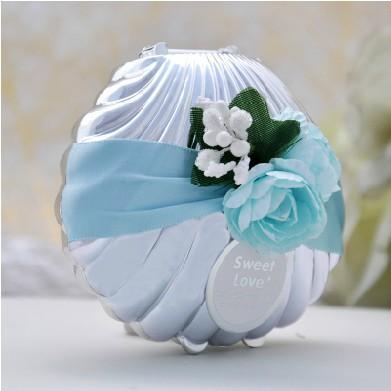 Vacker bröllop godis lådor favoriserar blå skal conch med band och blommor strand tema söt godis gynnar box party shower favoriserar gåvor