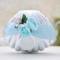 Wholesale Beach Theme Wedding Boxes - Beautiful Wedding Candy Boxes Favors Blue Shell Conch With Ribbon and Flowers Beach Theme Cute Candy Favor box Party shower Favors gifts