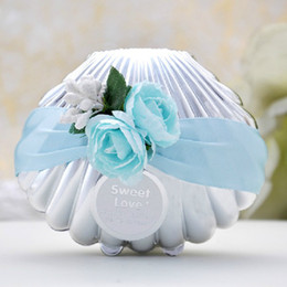 Wholesale Beach Wedding Shower Favors - Beautiful Wedding Candy Boxes Favors Blue Shell Conch With Ribbon and Flowers Beach Theme Cute Candy Favor box Party shower Favors gifts