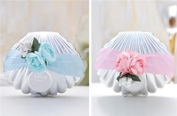 Caixas De Doces Do Casamento Bonito Favores Concha Azul Shell Com Fita e Flores Tema Praia Favores Do Chuveiro Do Favor caixa Do Partido favores presentes