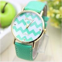 Wholesale Geneva Stripes Watch - 2014 15 New Geneva Leather watch Waves Stripe face golden women ladies girls fashion Platinum quartz wrist watches