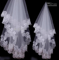 Wholesale Actual Image Bridesmaid - 2015 Wedding Dresses Actual Images white Ivory Bridal Bridesmaid Exquisite Crescent Side Wedding Veil 1.5M