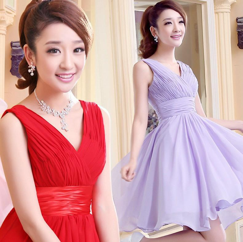 Elegante A linha V-neck Na Altura do Joelho Chiffon e Stretch Satin Bridesmaid Dresses Wedding Party Dress