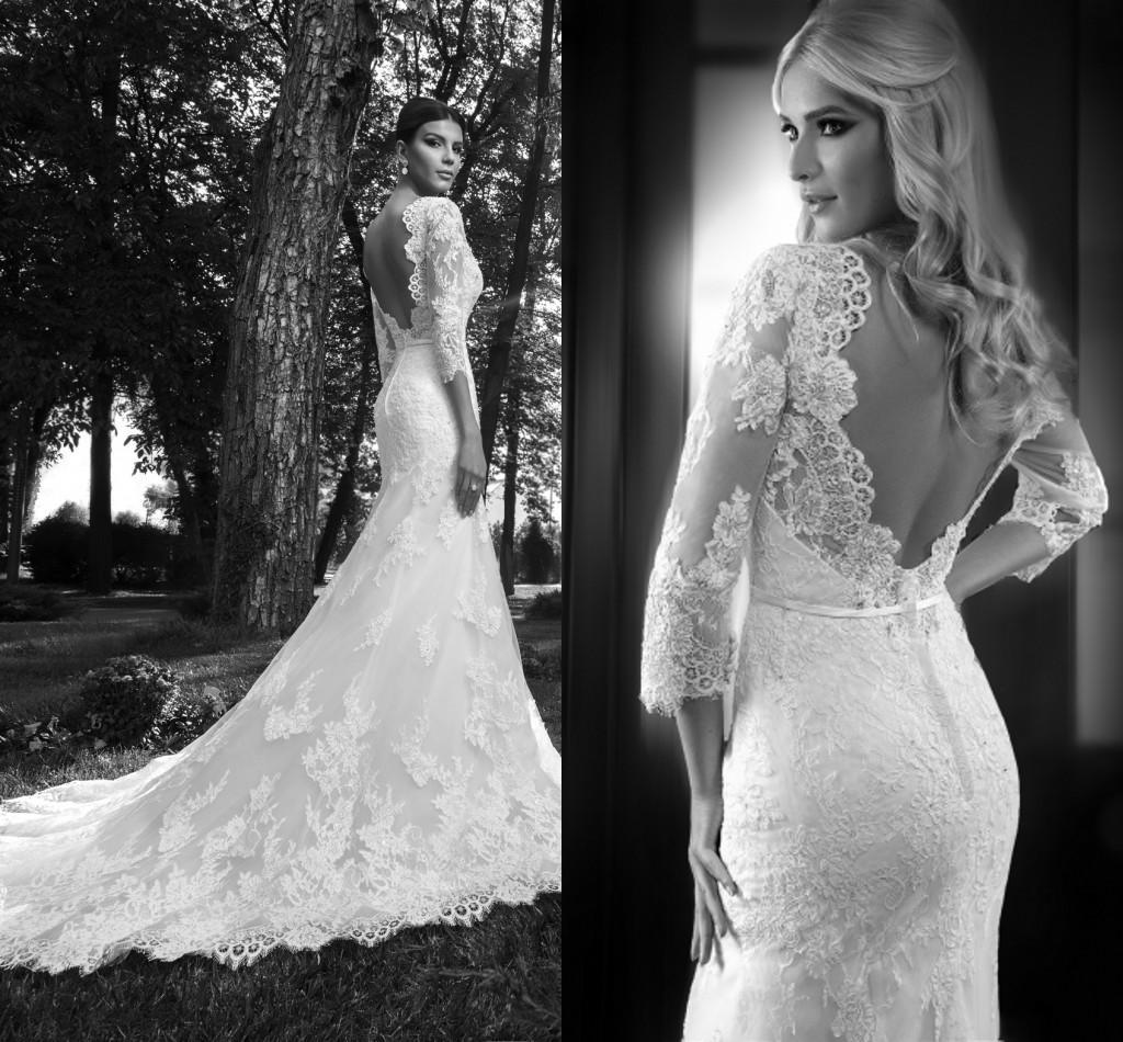 2017 Simple Beach Wedding Dresses 3 4 Long Sleeves Vintage: LK Vintage 3/4 Long Sleeves Lace Mermaid Wedding Dresses